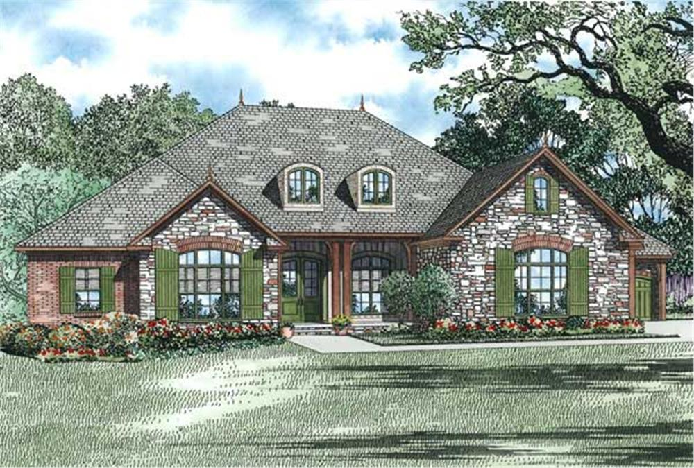 This is the front elevation for these European Ranch House Plans.