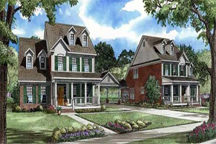 This image shows the Traditional style for these traditional house plans.