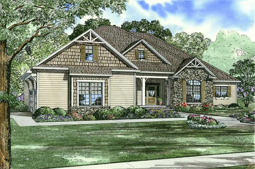 4-Bedroom, 2405 Sq Ft Craftsman Home Plan - 153-1885 - Main Exterior