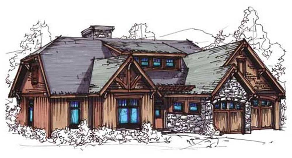 Front elevation of Vacation Homes home (ThePlanCollection: House Plan #153-1892)
