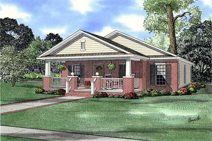 3-Bedroom, 1256 Sq Ft Bungalow Home Plan - 153-1895 - Main Exterior