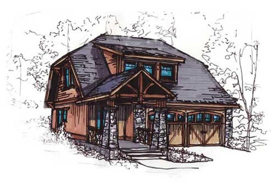 153-1898: Home Plan Rendering-Front Door