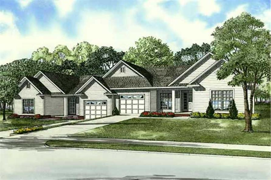 2-Bedroom, 1220 Sq Ft Multi-Unit Home Plan - 153-1900 - Main Exterior