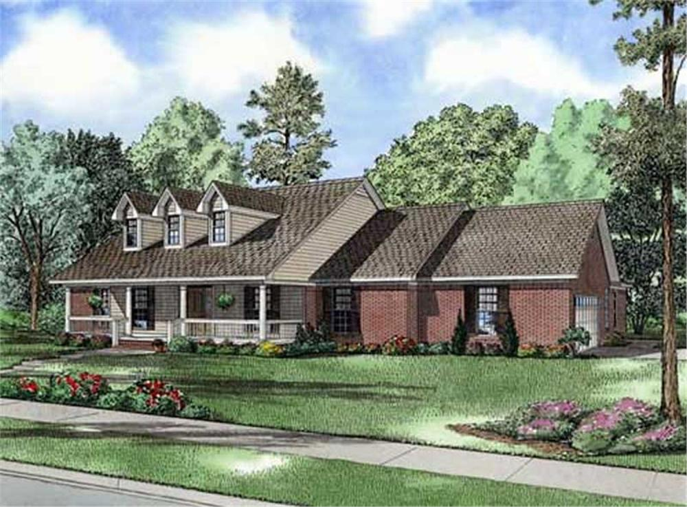 Front elevation of Cape Cod home (ThePlanCollection: House Plan #153-1902)