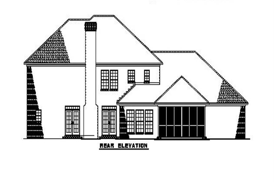 Home Plan Rear Elevation of this 4-Bedroom,3558 Sq Ft Plan -153-1903