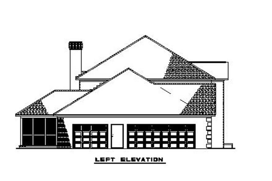 Home Plan Left Elevation of this 4-Bedroom,3558 Sq Ft Plan -153-1903