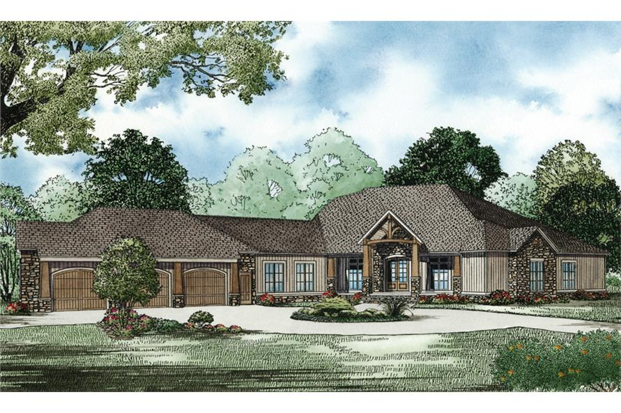 Home Plan Front Elevation of this 4-Bedroom,5144 Sq Ft Plan -153-1904