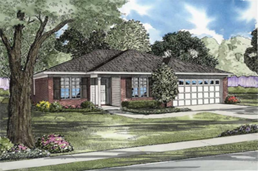 3-Bedroom, 1106 Sq Ft Ranch Home Plan - 153-1905 - Main Exterior