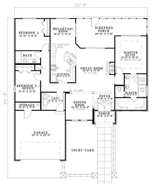 House Plan NDG-1136 Main Floor Plan