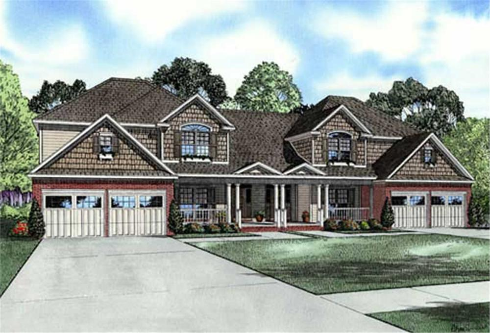 Front elevation of Craftsman home (ThePlanCollection: House Plan #153-1907)
