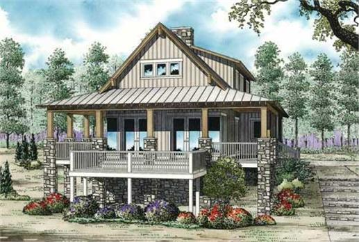 This is a colored rendering of these great Vacation House Plans.