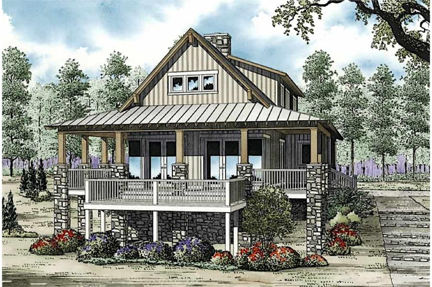 3-Bedroom, 2206 Sq Ft Vacation Style Home - Plan #153-1910 - Front Exterior
