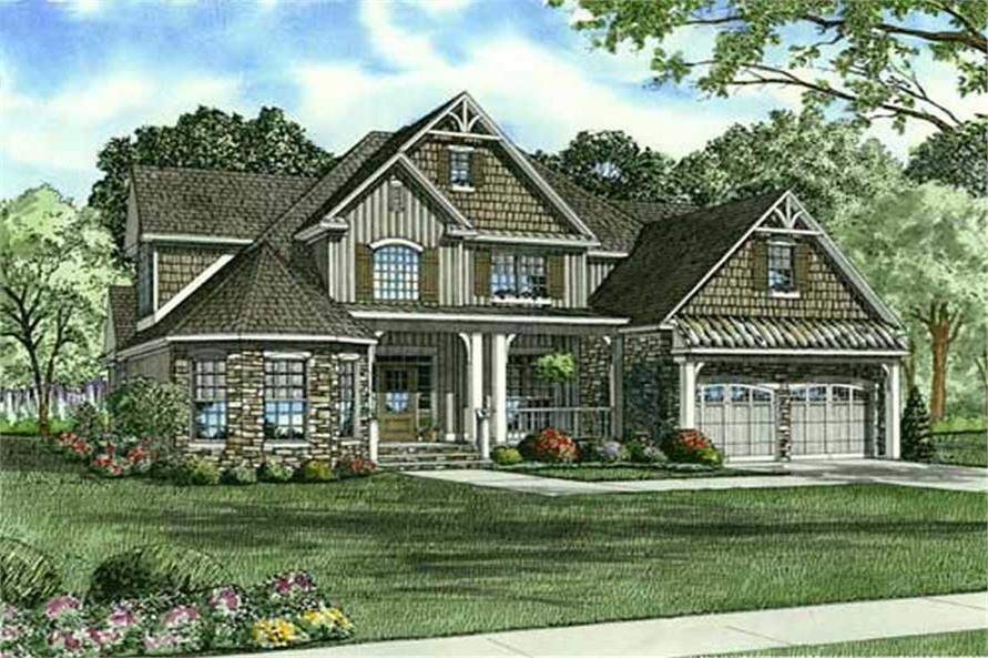 Home Plan Front Elevation of this 4-Bedroom,2815 Sq Ft Plan -153-1912