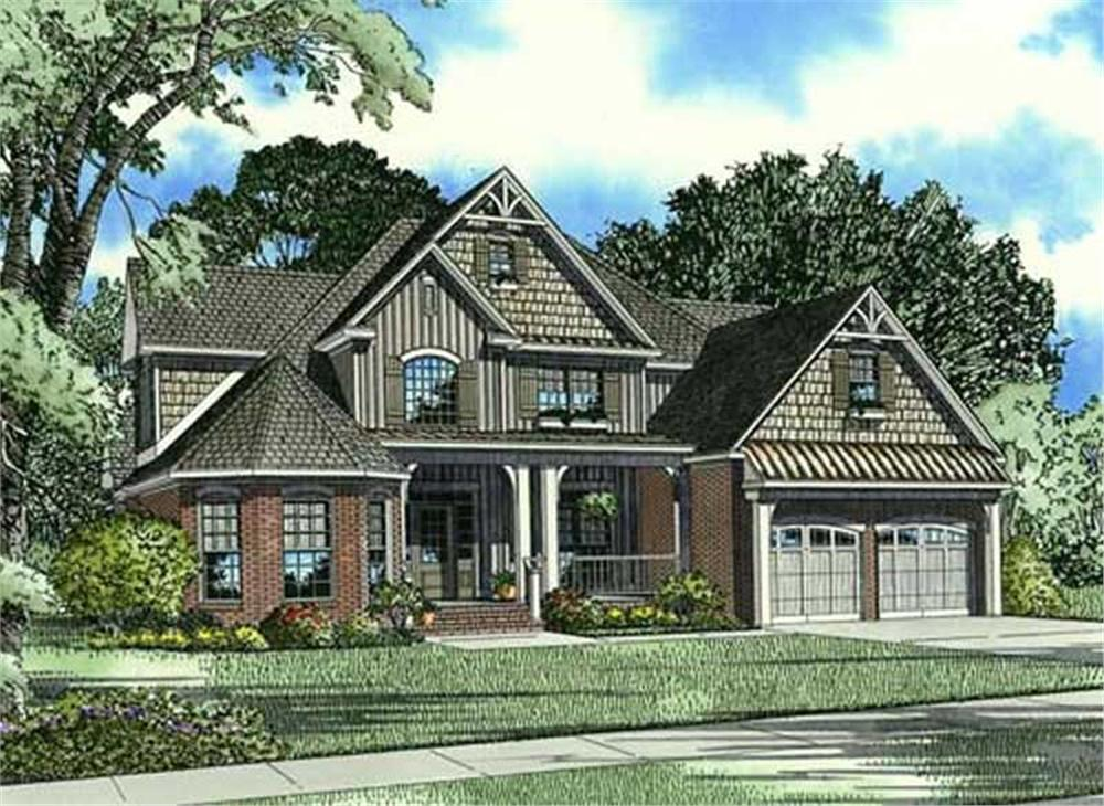 Front elevation of Craftsman home (ThePlanCollection: House Plan #153-1912)