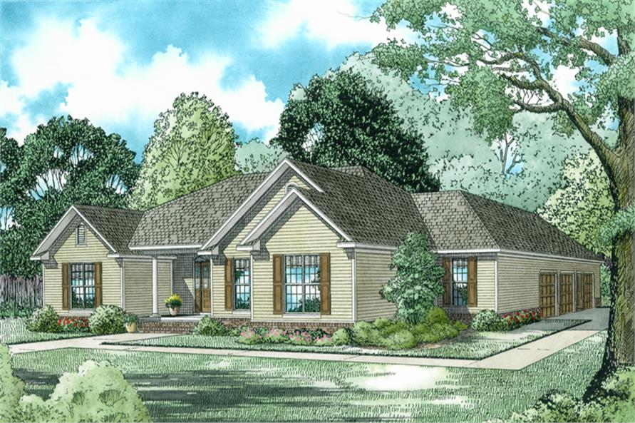 3-Bedroom, 2096 Sq Ft Country Home Plan - 153-1914 - Main Exterior