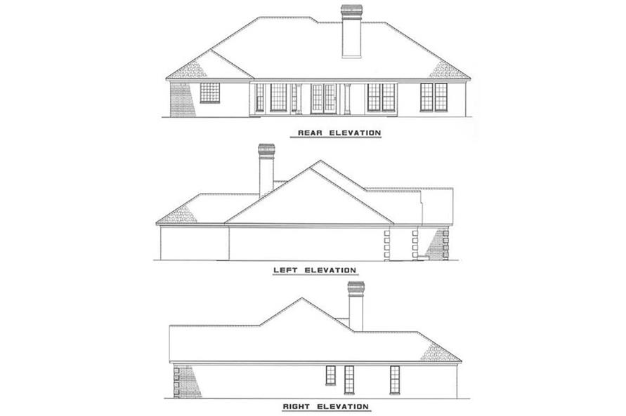 Home Plan Rear Elevation of this 4-Bedroom,2158 Sq Ft Plan -153-1916