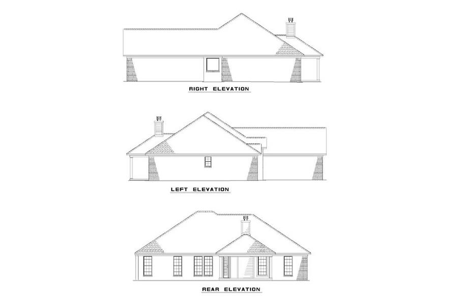 Home Plan Rear Elevation of this 3-Bedroom,1636 Sq Ft Plan -153-1919