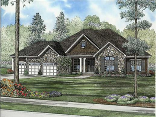 This image shows the front elevation for these European House Plans.