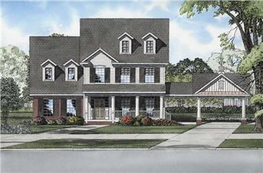4-Bedroom, 2564 Sq Ft Colonial House Plan - 153-1930 - Front Exterior