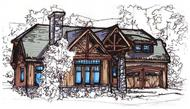 This image shows the front elevation for these Craftsman House Plans, Cape Cod House Plans.