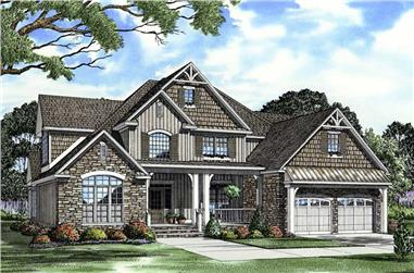 Front elevation of Craftsman home (ThePlanCollection: House Plan #153-1934)