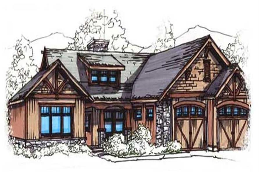 153-1935: Home Plan Rendering-Front Door