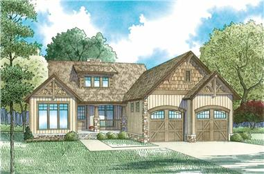 Front elevation of Craftsman home (ThePlanCollection: House Plan #153-1935)