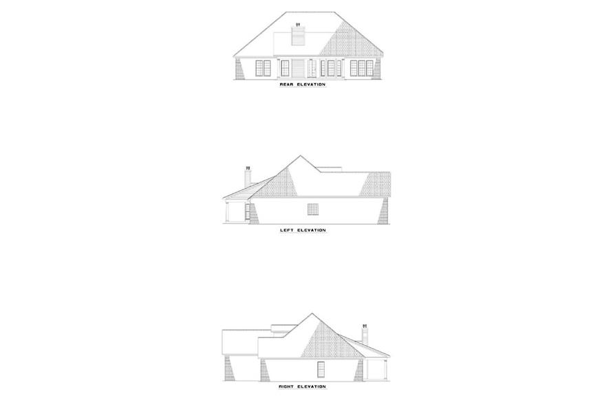 153-1936 house plan rear and side elevations.