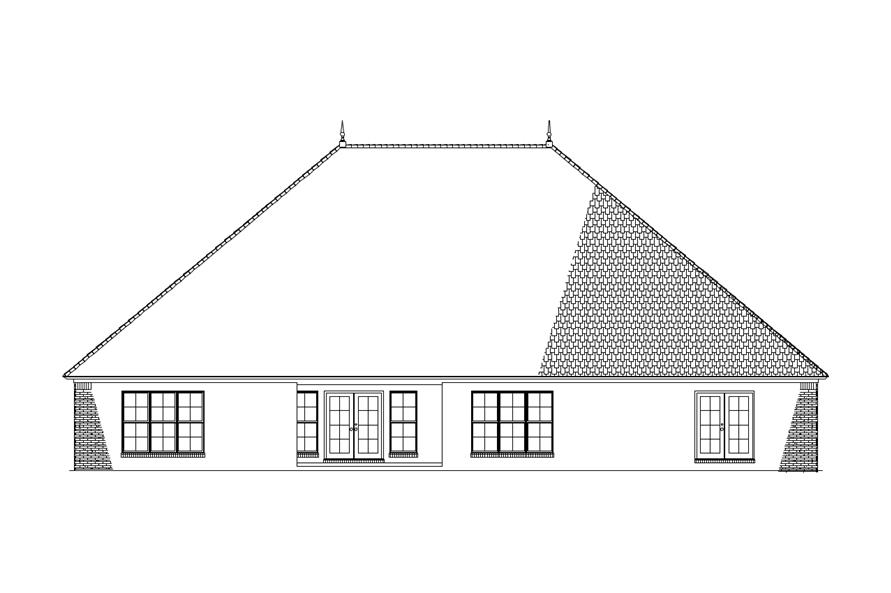 Home Plan Rear Elevation of this 3-Bedroom,2998 Sq Ft Plan -153-1938
