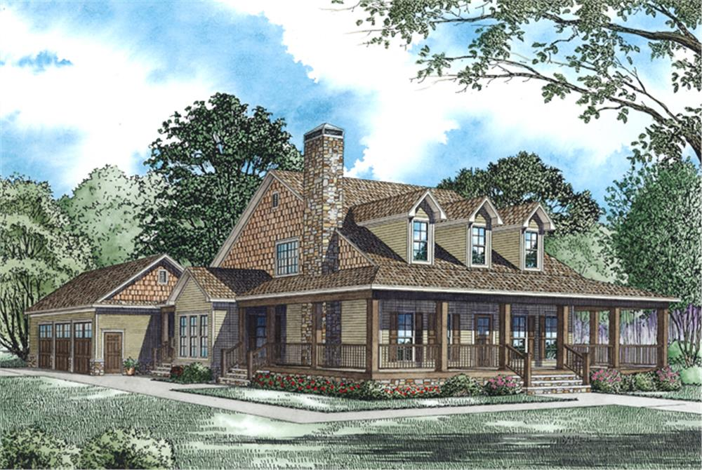 The Plan Collection: Front Elevation of Traditional House # 153-1940