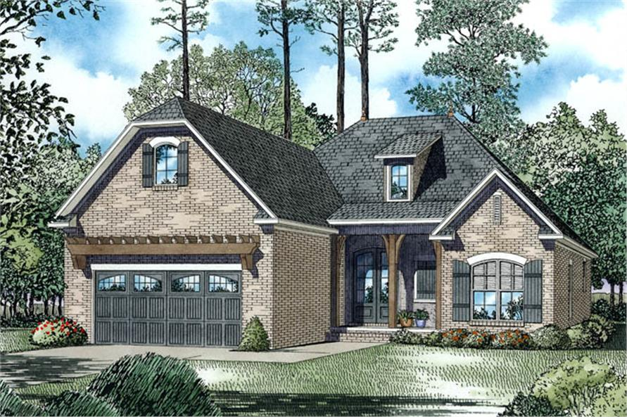 The Plan Collection: Color Rendering of Country Style Home Plan (House Plan # 153-1943)