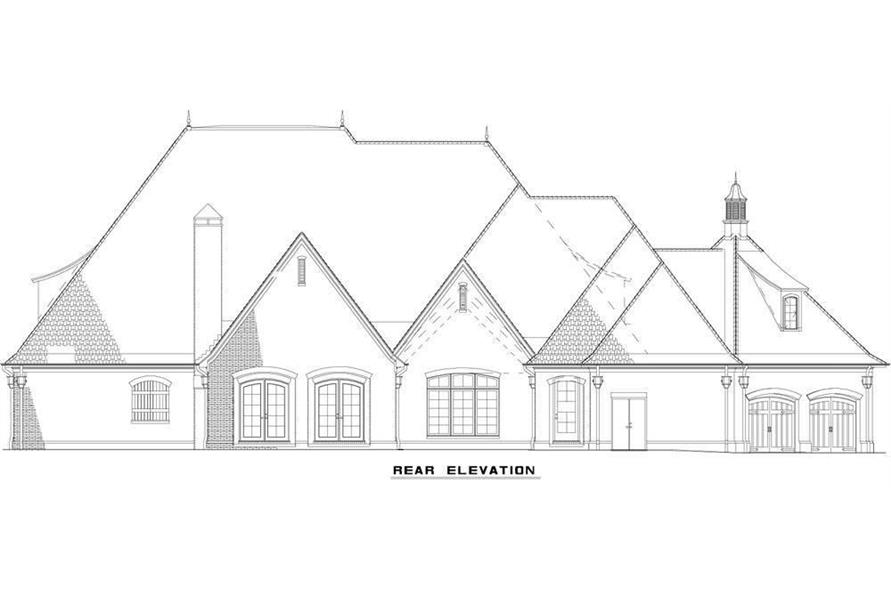 Home Plan Rear Elevation of this 6-Bedroom,6004 Sq Ft Plan -153-1945