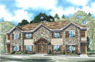 2-Bedroom, 1040 Sq Ft Multi-Unit House Plan - 153-1948 - Front Exterior