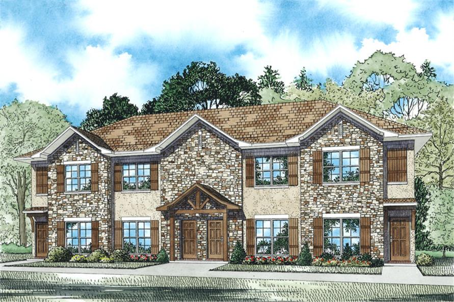 2-Bedroom, 1040 Sq Ft Multi-Unit House - Plan #153-1948 - Front Exterior