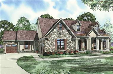 The Plan Collection: Front Elevation of Country-Style House # 153-1950