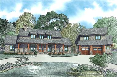 The Plan Collection: Front Elevation of Craftsman Style House # 153-1951