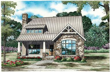 The Plan Collection: Front Elevation of Rustic Small House # 153-1952