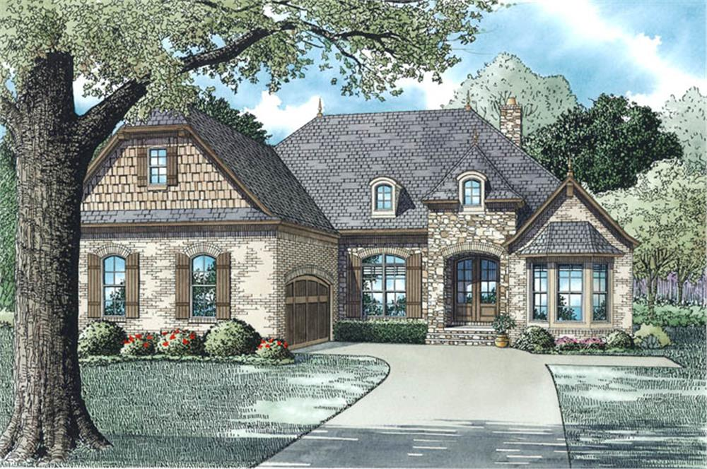 The Plan Collection: Front Elevation of European Country Style House # 153-1955