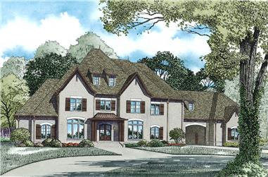 Front Elevation of this Luxury House (#153-1975) at The Plan Collection.