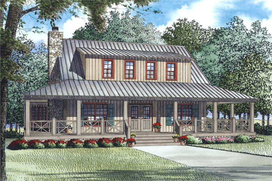 3-Bedroom, 1792 Sq Ft Farmhouse House Plan - 153-1976 - Front Exterior