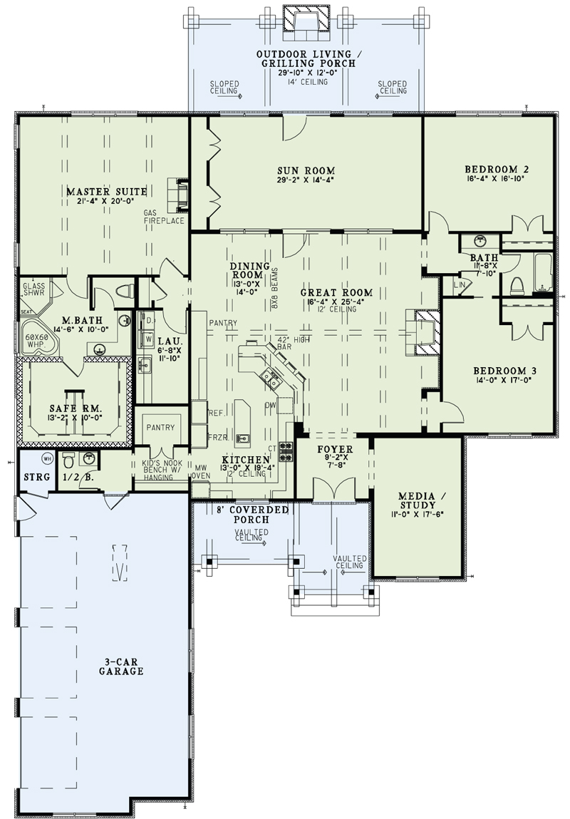 Rustic Ranch House Plan 3 Bedrms 2 5 Baths 3307 Sq Ft