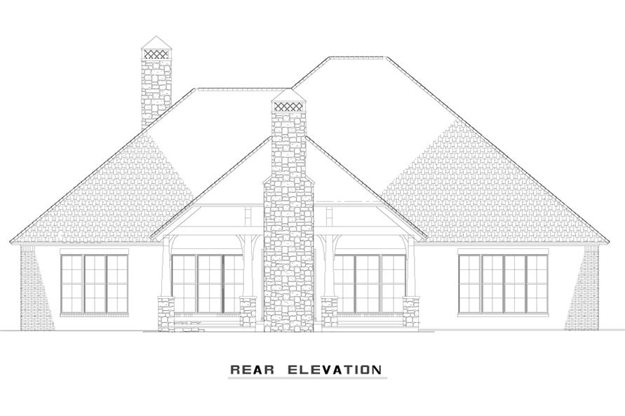 Home Plan Rear Elevation of this 3-Bedroom,3307 Sq Ft Plan -153-1978