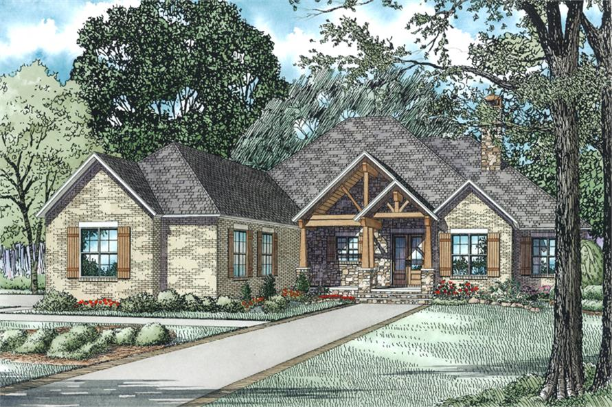 3-Bedroom, 3307 Sq Ft Rustic Ranch House Plan - 153-1978 - Front Exterior