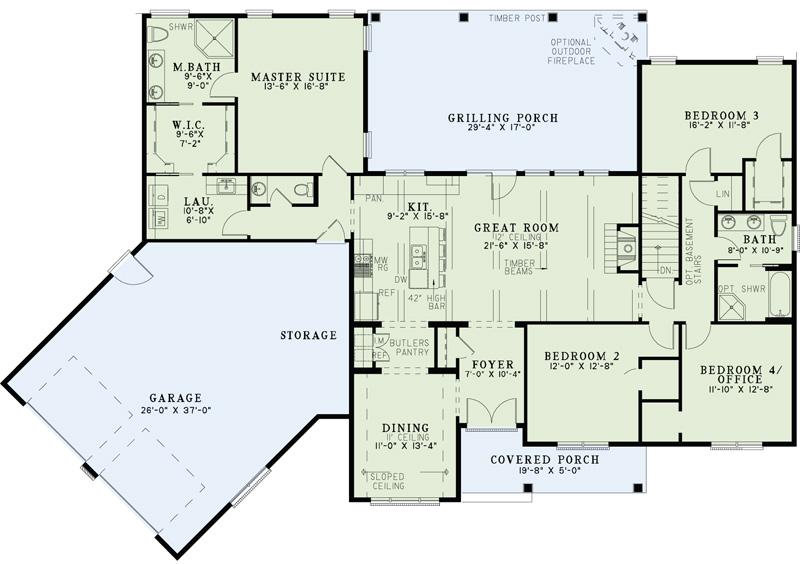 Ranch House Plan 4 Bedrms 2 5 Baths 2279 Sq Ft 153 1979