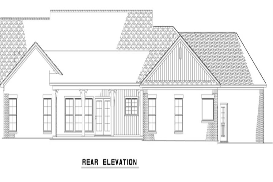 Home Plan Rear Elevation of this 4-Bedroom,2279 Sq Ft Plan -153-1979