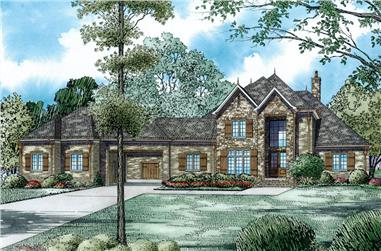 Front Elevation of this Luxury House (#153-1980) at The Plan Collection.