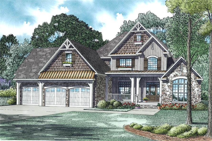 4-Bedroom, 2860 Sq Ft Country Home Plan - 153-1983 - Main Exterior