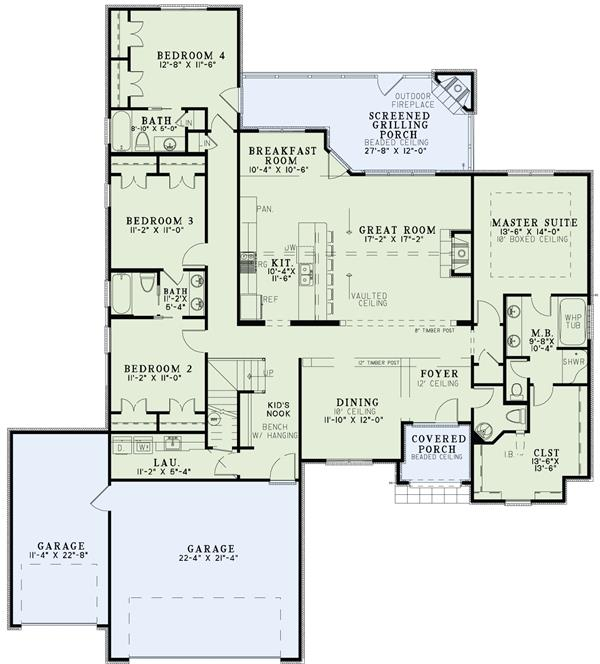 House plan 153 1984 4 bdrm 2 413 sq ft european home for Floor plans european style