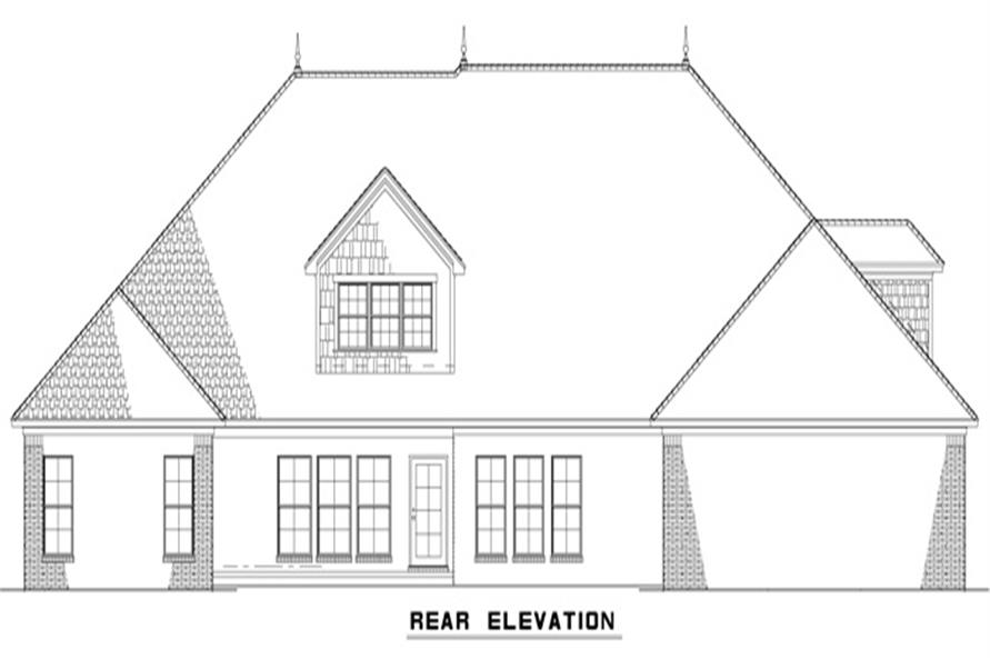 Home Plan Rear Elevation of this 4-Bedroom,3415 Sq Ft Plan -153-1988