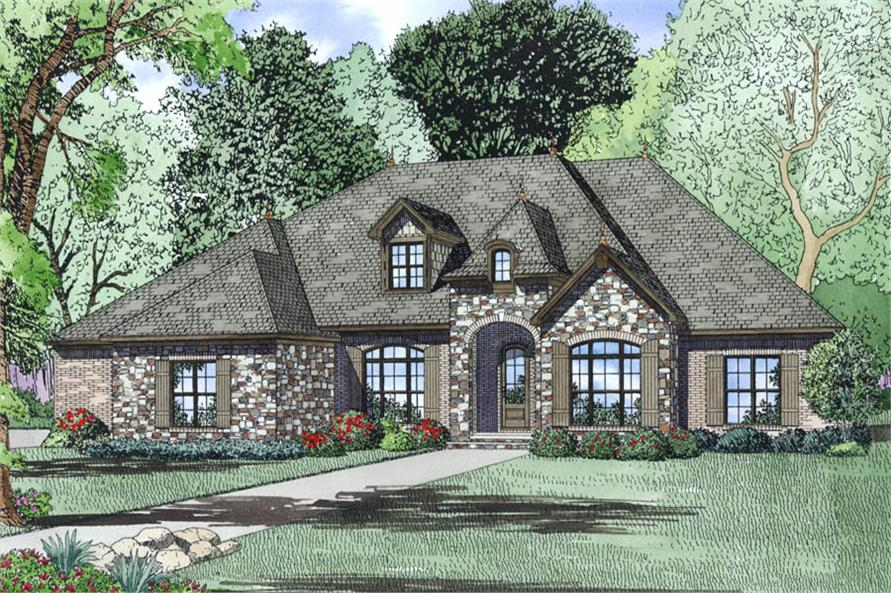 4-Bedroom, 3415 Sq Ft French Home Plan - 153-1988 - Main Exterior